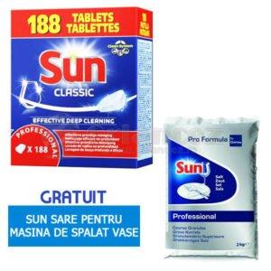 Pachet Sun 188 tablete + sare pentru maşinile de spălat vase